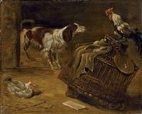 chien et coq dans une étable by gabriel metsu