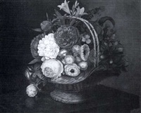 floral bouquet in a basket by rose jeanne fajon