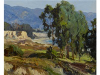 landscape with eucalyptus grove, cliffs, beach, sea and mountains beyond by carl oscar borg
