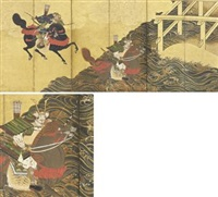 the first man across the uji river, from tale of the heike (pair) by tohaku hasegawa