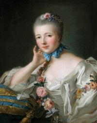 portrait de jeune femme au noeud bleu by louis richard françois dupont
