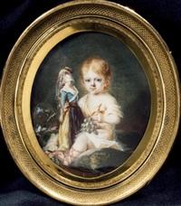 portrait d'une petite fille en robe de voile blanc assise dans un jardin, tenant une poupée et une grappe de raisins dans la main gauche by jean antoine laurent