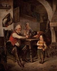 interieur mit drei personen am tisch und einem kind das vor dem vater salutiert by joseph haier