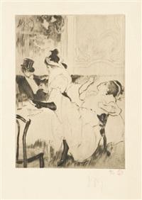 en passant, incognito, entrée de scène, jeune, femme se coiffant, la négresse et le pochard (6 works) by louis auguste mathieu legrand