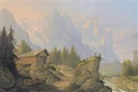 ansicht mit wellhorn, wetterhorn und rosenlauigletscher by konrad corradi