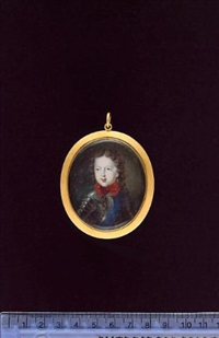 prince james francis edward stuart, the old pretender, as a child, wearing armour, the blue sash of the garter and a red bow at his neck, his hair worn long and curled by jacques-antoine arlaud