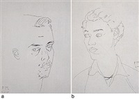 atul (self-portrait) (+ vipul; 2 works) by atul dodiya