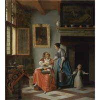 a woman handing a coin to a serving woman with a child by pieter de hooch