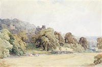 view of haddon hall, derbyshire by walter henry pigott