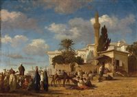 a gathering outside the city walls by prosper georges antoine marilhat