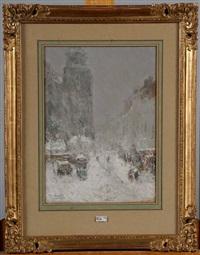 boulevard animé sous la neige by henry stacquet