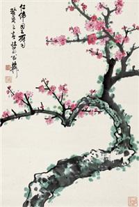 迎春图 立轴 (二十开选六) 设色纸本 (painted in 1983 peach blossom) (20 works) by xie zhiliu