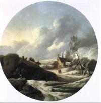 winterlandschaft mit mühle und personen by dorothea maria wagner