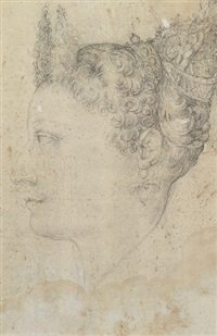 portrait of a woman in profile with an elaborate hairstyle by nicoletto da modena