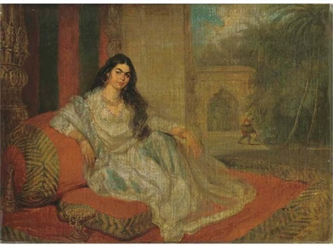 an indian woman reclining on bolsters on the terrace of a lucknow residence a stem cup of jewels at her side a bihishti laying the dust beyond by charles smith