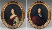 portrait d'homme en veste rouge et au col de dentelle (+ portrait de femme à la robe rouge; pair) by henri gascars