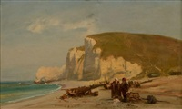 pêcheurs sur la plage d'etretat by camille joseph etienne roqueplan