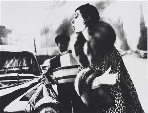 the spotted furs, furred: barbara mullen in a coat by traina-norell, new york, harper's bazaar by lillian bassman