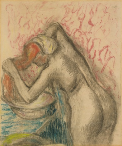 après le bain femme sessuyant les cheveux by edgar degas