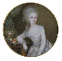 portrait de jeune femme, les cheveux poudrés. by ignazio pio vittoriano campana