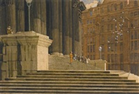 the steps of st. paul's, london by william dacres adams