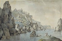 view of the coast near balaklava, with the st. george monastery beyond by giacomo quarenghi