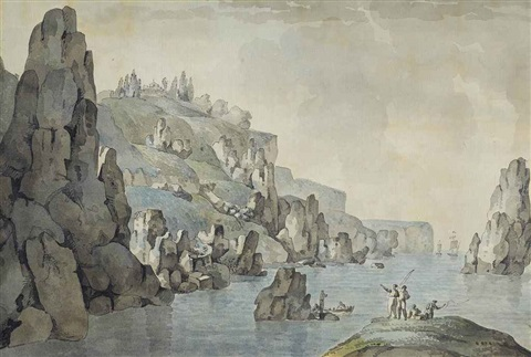 view of the coast near balaklava with the st george monastery beyond by giacomo quarenghi