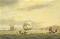 a royal navy frigate and armed cutter in the channel off the devonshire coast by thomas luny