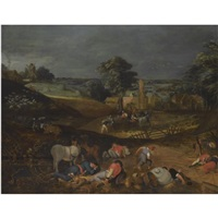 landscape with peasants harvesting, while others rest in the foreground, or the devil sewing tares by pieter balten