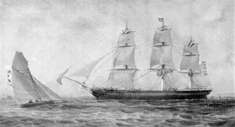 a merchantman undersail off the coast by george frederick gregory