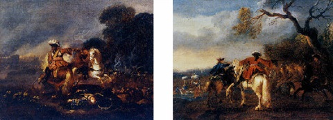 a battle scene with two horsemen in the foreground by alexander van gaelen
