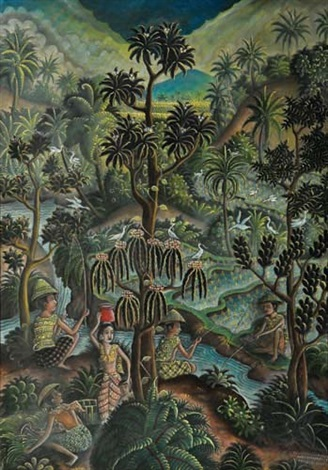bali landscape with three men fishing by ida bagus made nadera