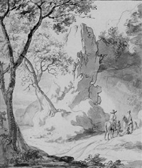 travellers resting in a rocky landscape by jan van aken