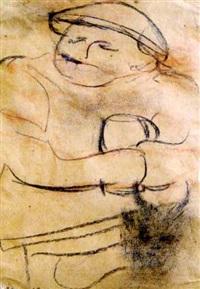 skizze eines mannes mit mütze und glas by bartold asendorpf