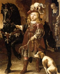 portrait of a noble child, full-length, dressed as a huntsman and leading a horse by johann spilberg the younger