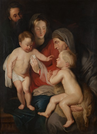 the holy family with st anne and st john the baptist by continental school 19