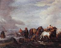 pêcheurs sur la grève by herman van lin