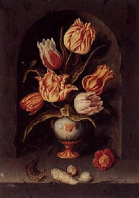 still life with parrot tulips in a case, with a lizard, shells, and a flower arranged on a marble ledge, all within a marble nich by dutch school-southern (17)