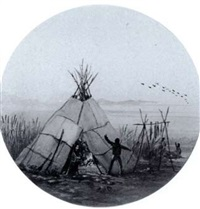 wigwam, lake huron (+ 2 others, 3 works in 1 frame) by william wallace armstrong