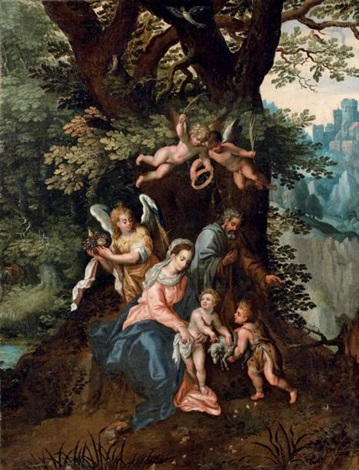 la sainte famille avec saint jean baptiste et des anges dans un paysage boisé by hendrick de clerck