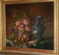 nature morte au bouquet de roses avec fruits et vase sur un entablement by euphémie thérèse (didiez) david