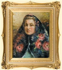 girl in a scarf by alexander tolstoy