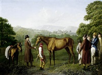 a bay racehorse held by a trainer in an extensive landscape by jacques-laurent agasse