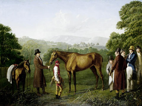 a bay racehorse held by a trainer in an extensive landscape by jacques laurent agasse