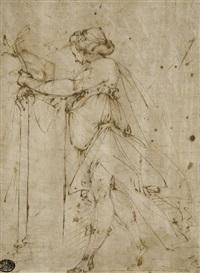 femme drapée, vue de profil vers la gauche (+ etude subsidiaire d'un bras drapé, verso) by giulio benso
