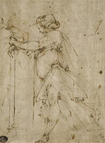femme drapée vue de profil vers la gauche etude subsidiaire dun bras drapé verso by giulio benso