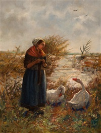 farmer and two geese by the water's edge by cornelis koppenol