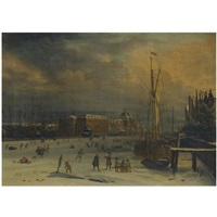 amsterdam, a view of the 's lands zeemagazijn in winter by aelbert meyeringh and jacobus storck