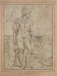 sculpture antique représentant mars devant un sarcophage by baccio bandinelli