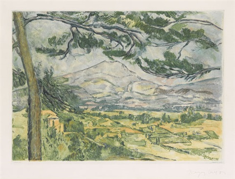 la montagne sainte victoire etched by jacque villon by paul cézanne